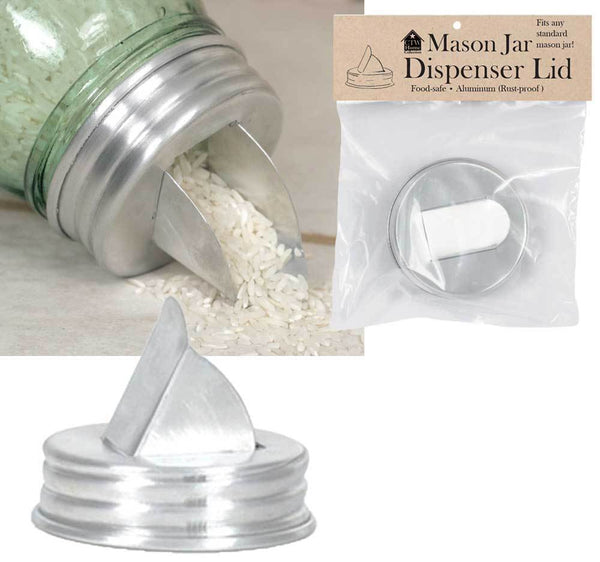 Mason Jar Aluminum Grain Dispenser Lid - Box of 4