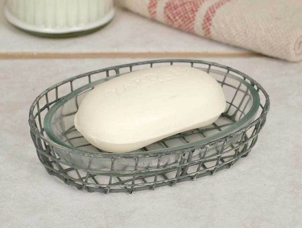 Oval Soap Dish with Glass Liner - Set of 4