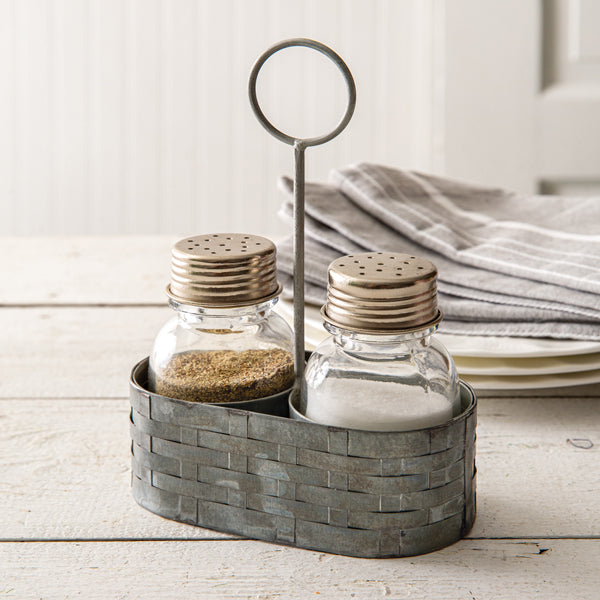 Galvanized Salt & Pepper Caddy with Ring