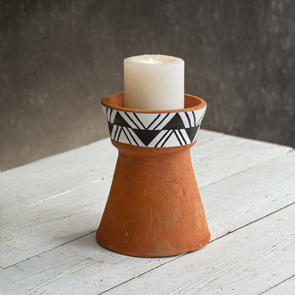 Small Terra Cotta Pillar Candle Holder
