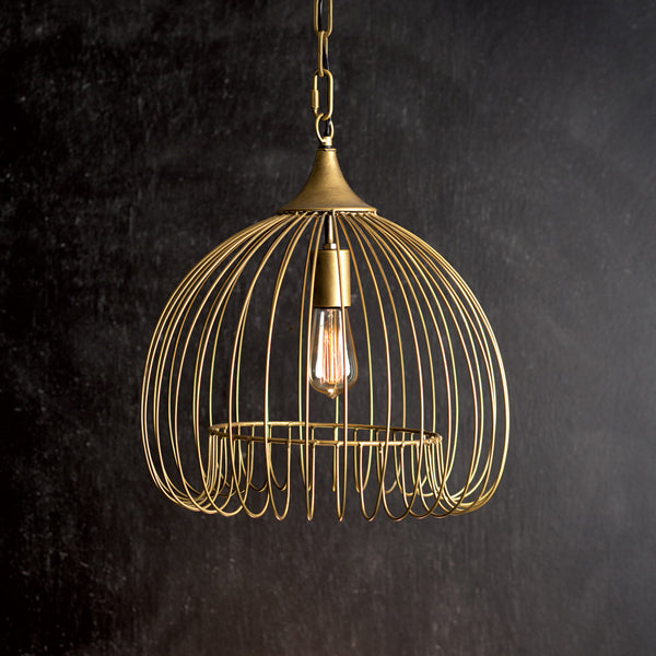 Antique Brass Wire Pendant Light