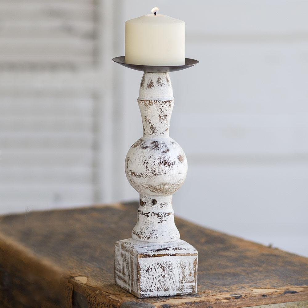 Wood Pillar Candle Holder with Square Base