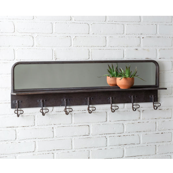 Entryway Wall Mirror with Hooks