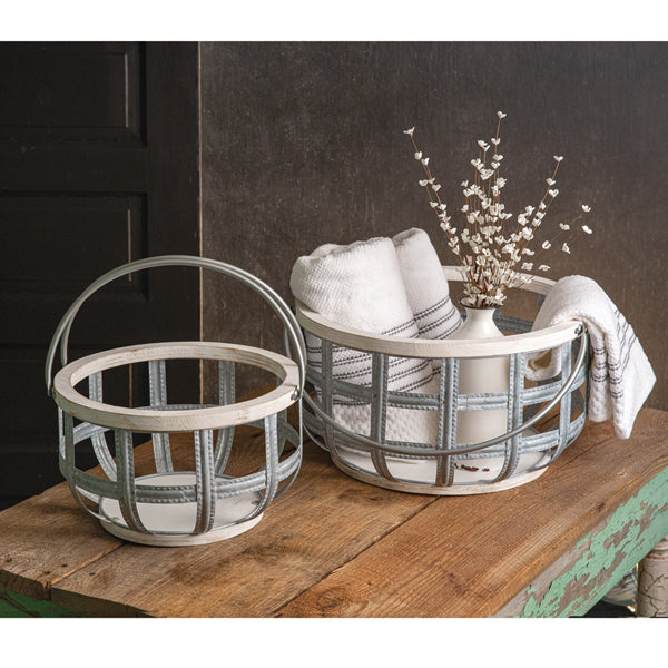 Set of Two Wood and Metal Storage Baskets with Handles