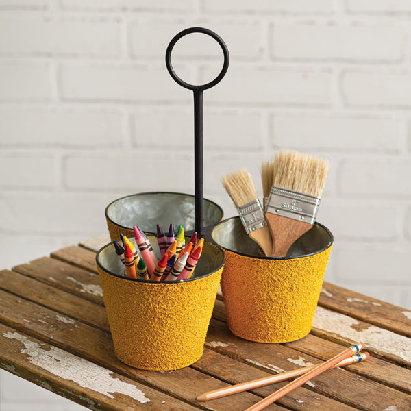 Textured Three Bucket Organizer with Handle