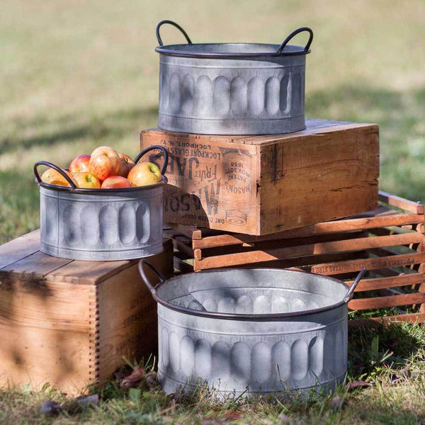 Set of Three Galvanized Apple Baskets