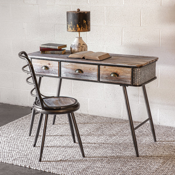 Industrial Style Wood & Metal Desk with Chair