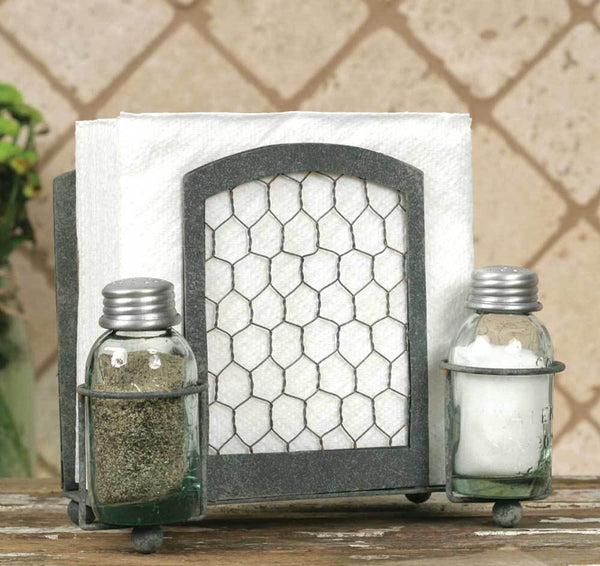 Chicken Wire Salt Pepper & Napkin Caddy