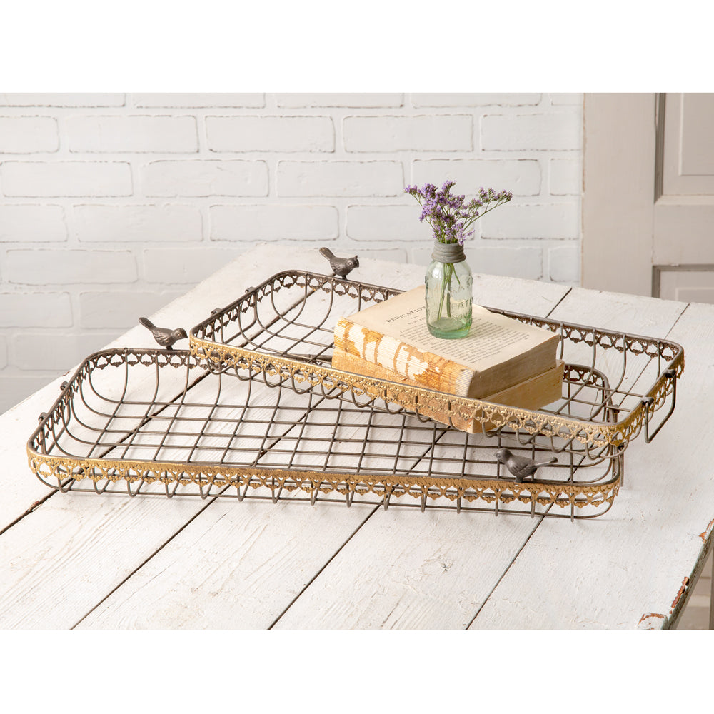 Set of Two Nesting Wire Baskets with Birds
