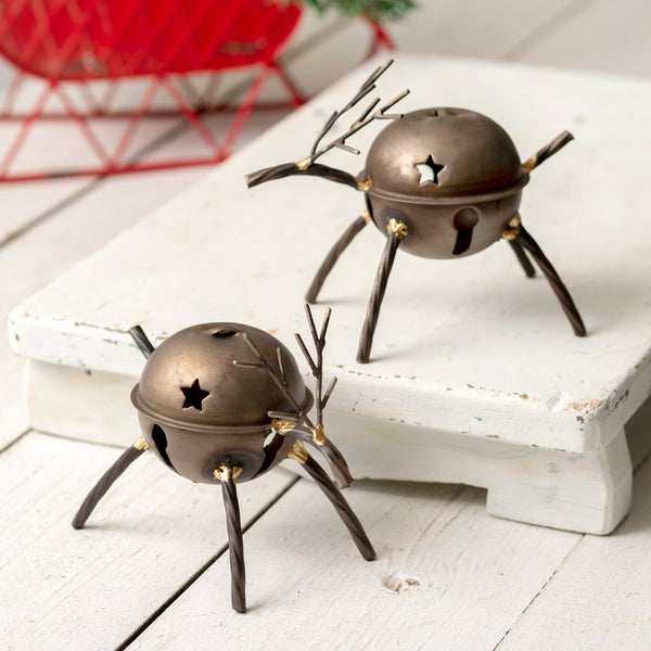 Set of Two Reindeer Bell Figurines