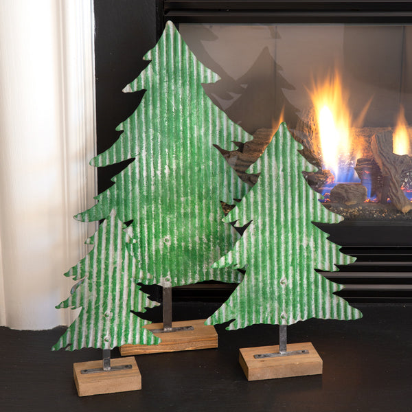 Set of Three Metal Christmas Trees