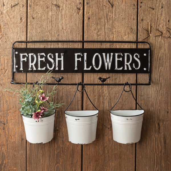 Fresh Flowers Metal Sign with Metal Buckets