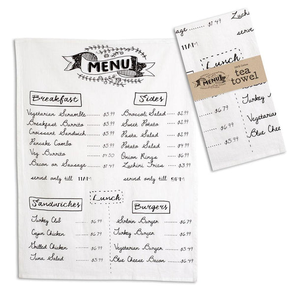 Set of 4 Menu Tea Towels