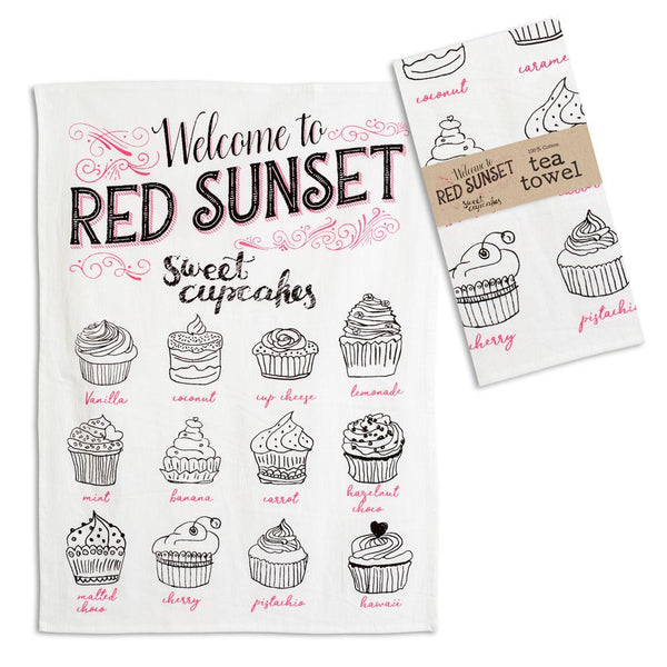 Set of 4 Red Sunset Tea Towels