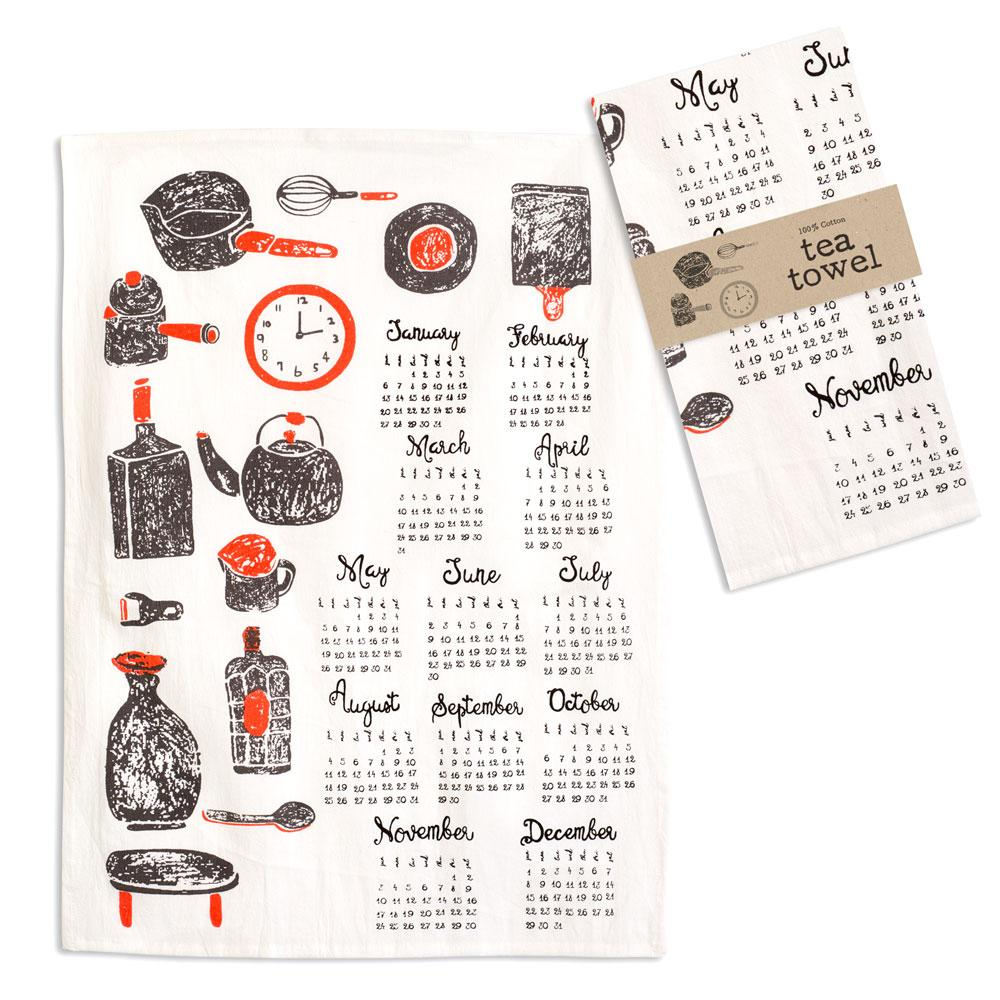 Kitchenware Calendar Tea Towel - Box of 4