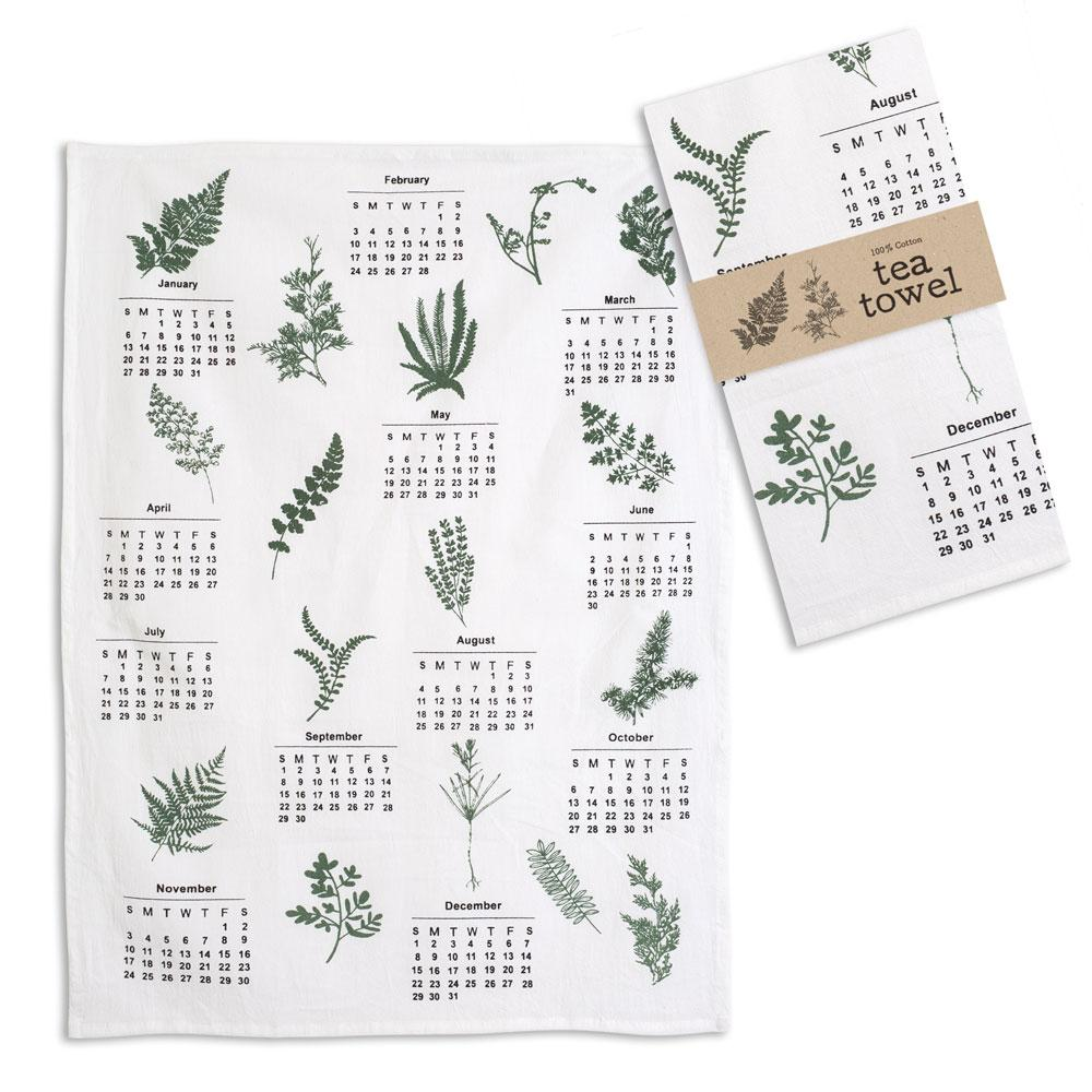 Greenery Calendar Tea Towel - Box of 4