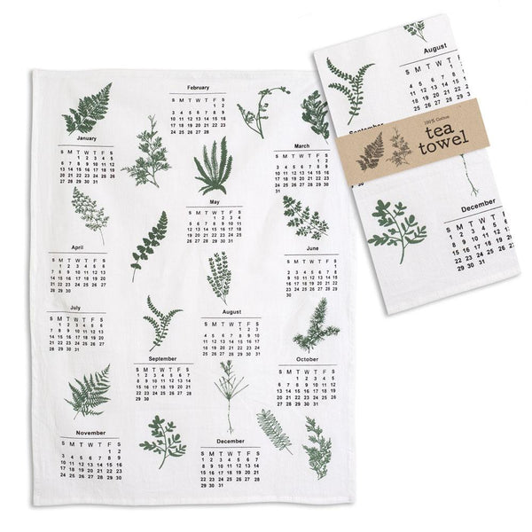 Greenery Calendar Tea Towel