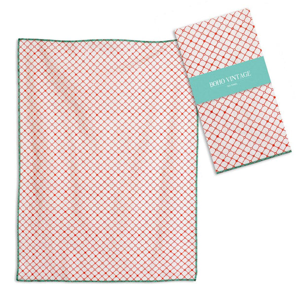Set of 4 Coralee Tea Towels