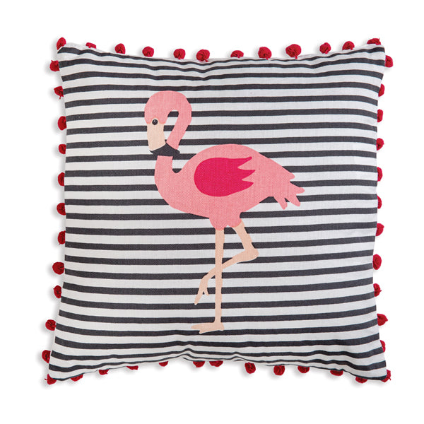 Flamingo Striped Cotton Throw Pillow