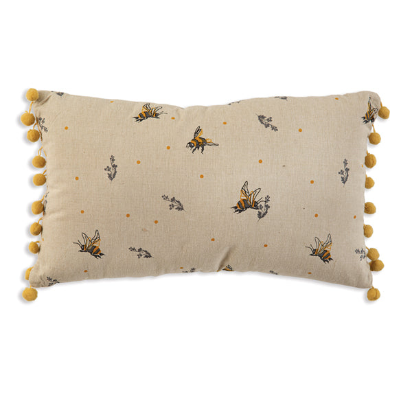 Bee's Accent Pillow with Pom Poms