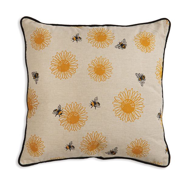 Sunflower with Bee's Cotton Throw Pillow
