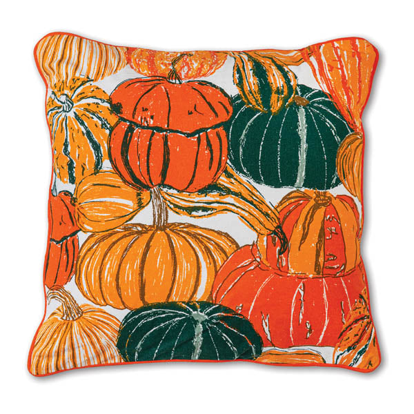 Pumpkins and Squash Cotton Throw Pillow