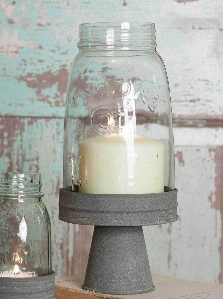 Quart Mason Jar Chimney with Stand - Barn Roof