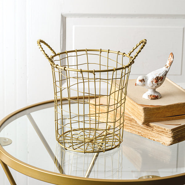 Tall Wire Basket with Two Handles - Gold