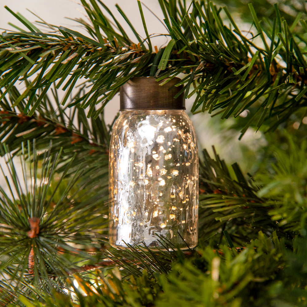Glass Mini Mason Jar Ornament - Mercury Silver - Box of 6