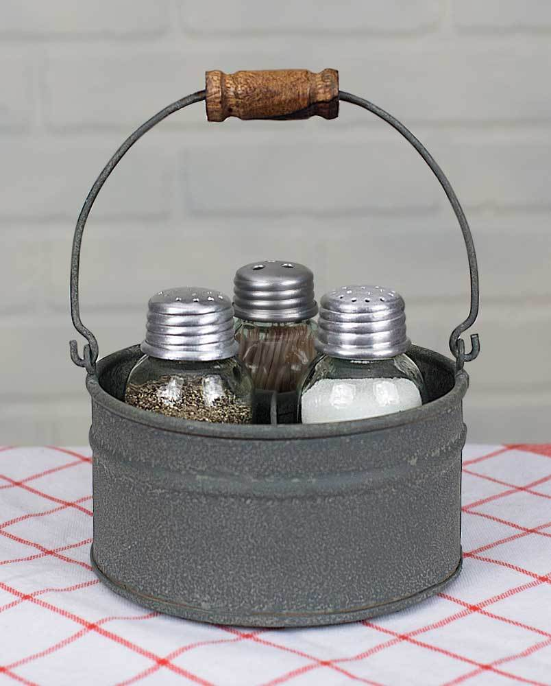 Round Bucket Salt Pepper and Toothpick Caddy - Barn Roof