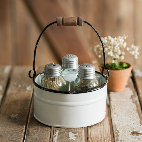 Round Bucket Salt Pepper & Toothpick Caddy - White