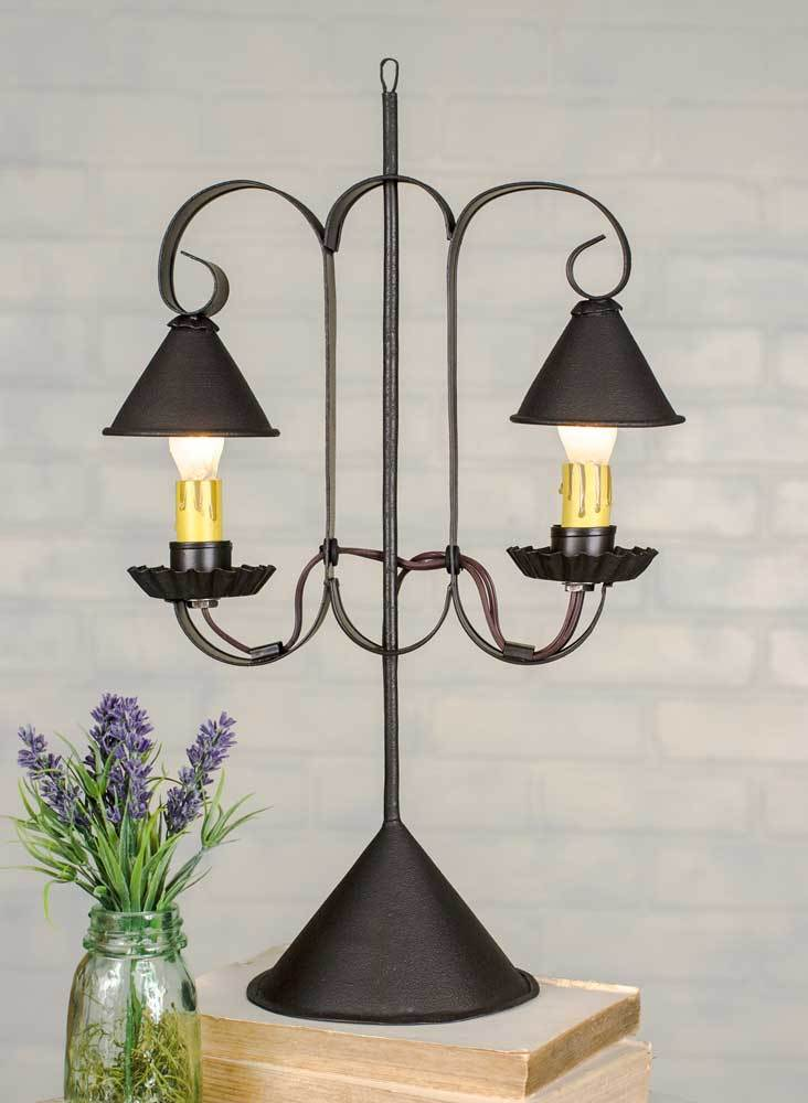 Double Lamp with Hanging Shades - Rustic Brown