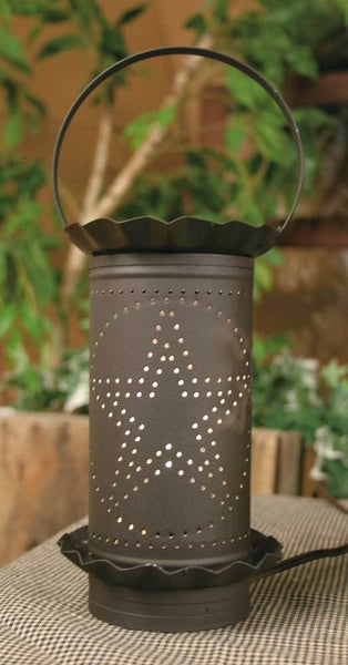 Large Punched Star Electric Wax Potpourri Warmer - Rustic Brown