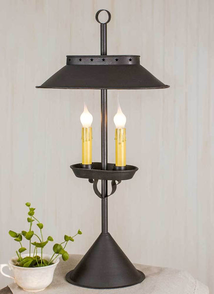 Large Double Candle Desk Lamp - Rustic Brown