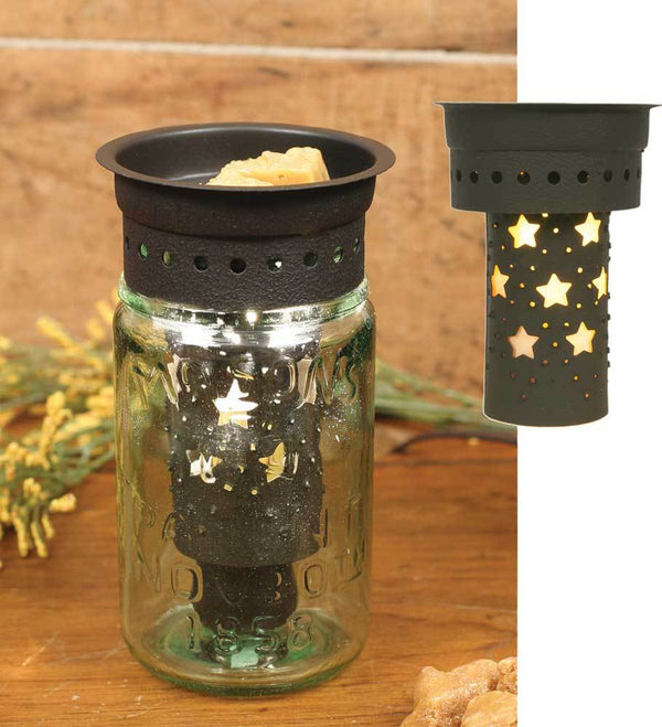 Punched Stars Pint Mason Jar Wax Warmer Kit - Brown - Set of 4