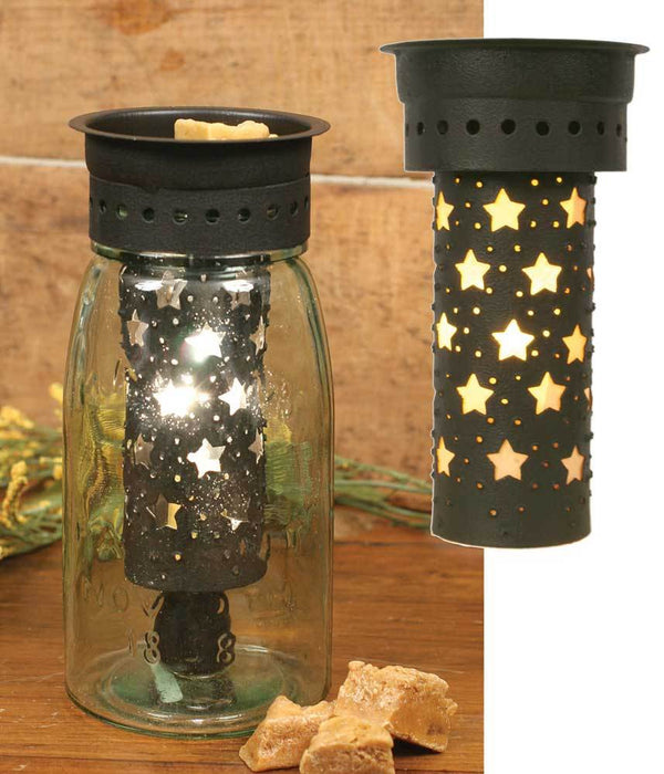 Large Punched Stars Quart Mason Jar Wax Warmer Kit - Brown - Set of 4