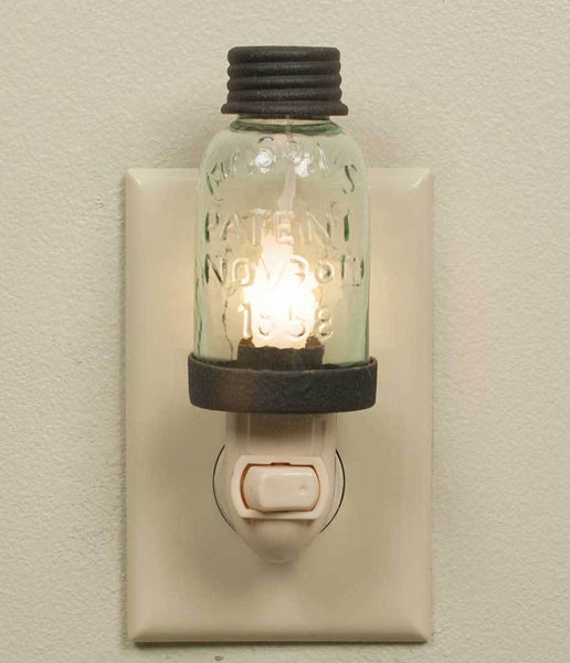 Mason Jar Night Light - Rustic Brown - Set of 4
