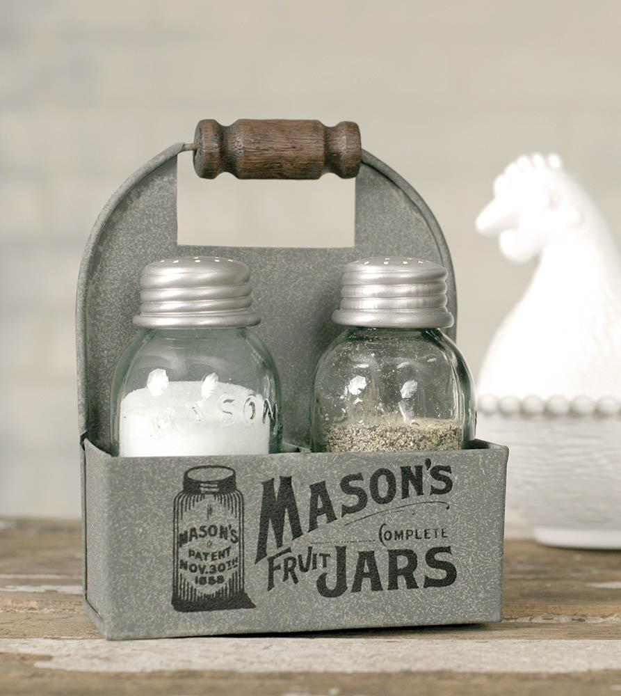 Masons Jars Box Salt and Pepper Caddy - Box of 2