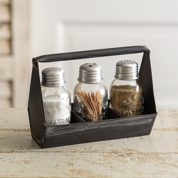 Toolbox Salt Pepper and Toothpick Caddy - Black