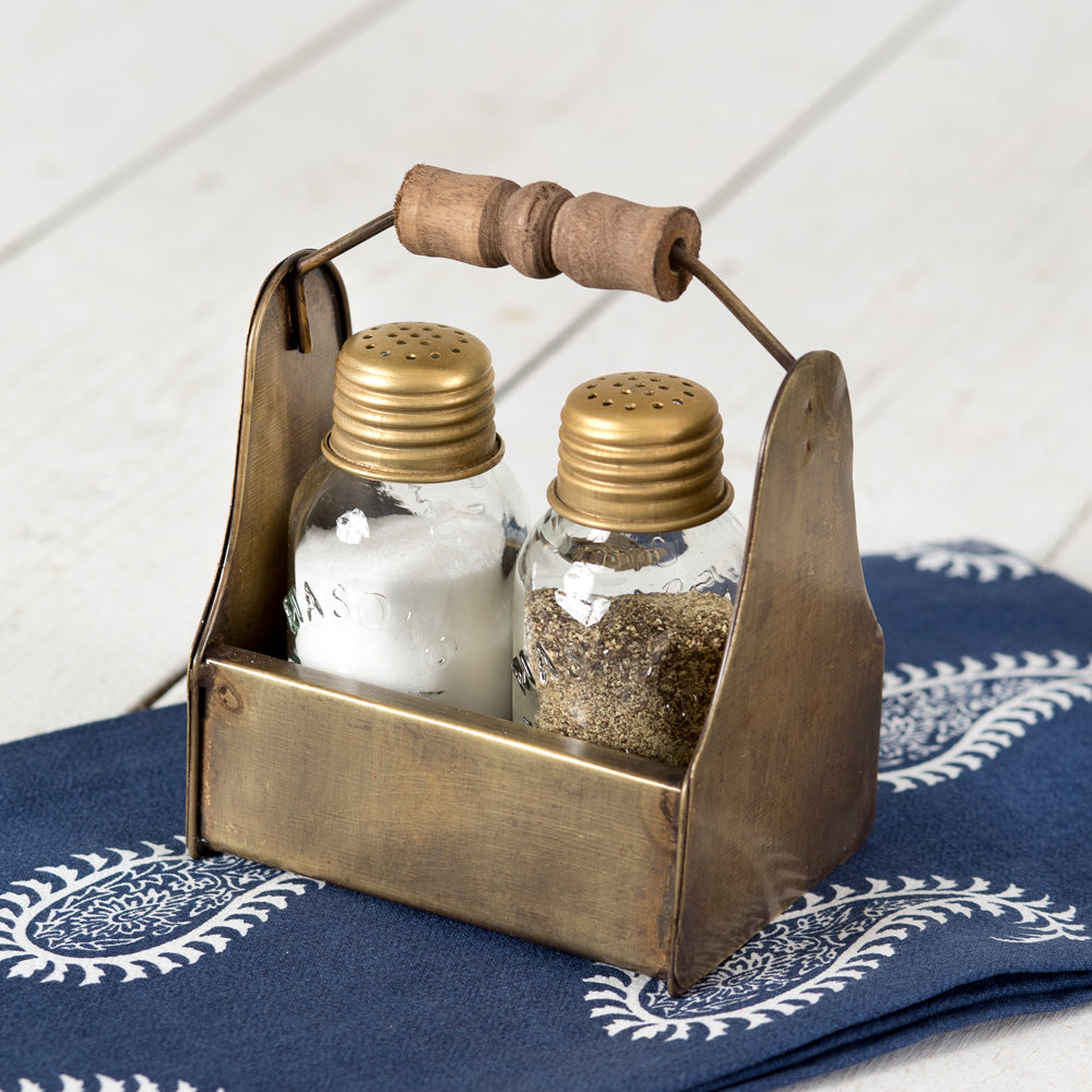 Tiny Toolbox Salt and Pepper Caddy - Antique Brass - Box of 2