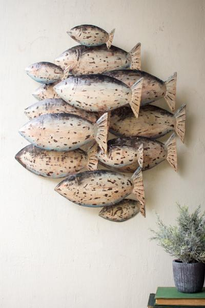 Painted Recycled Metal School Of Fish Wall Decor