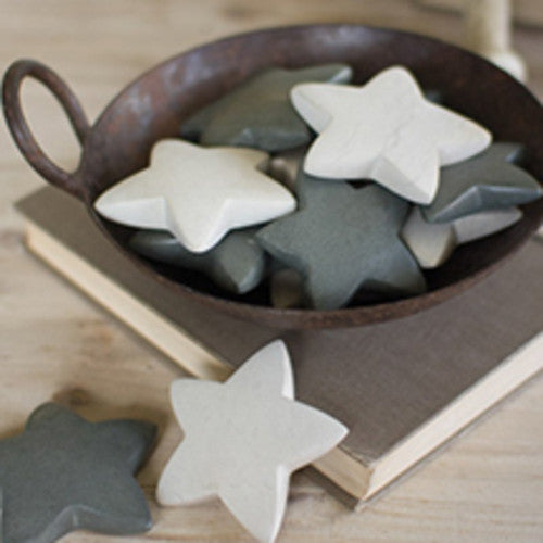 Set Of 6 Hand Carved Stone Stars - Light Grey