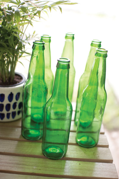 Set Of 6 Recycled Green Glass Bottles