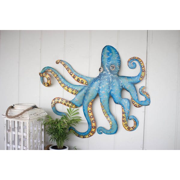 Hand Hammered Recycled Metal Octopus Wall Hanging