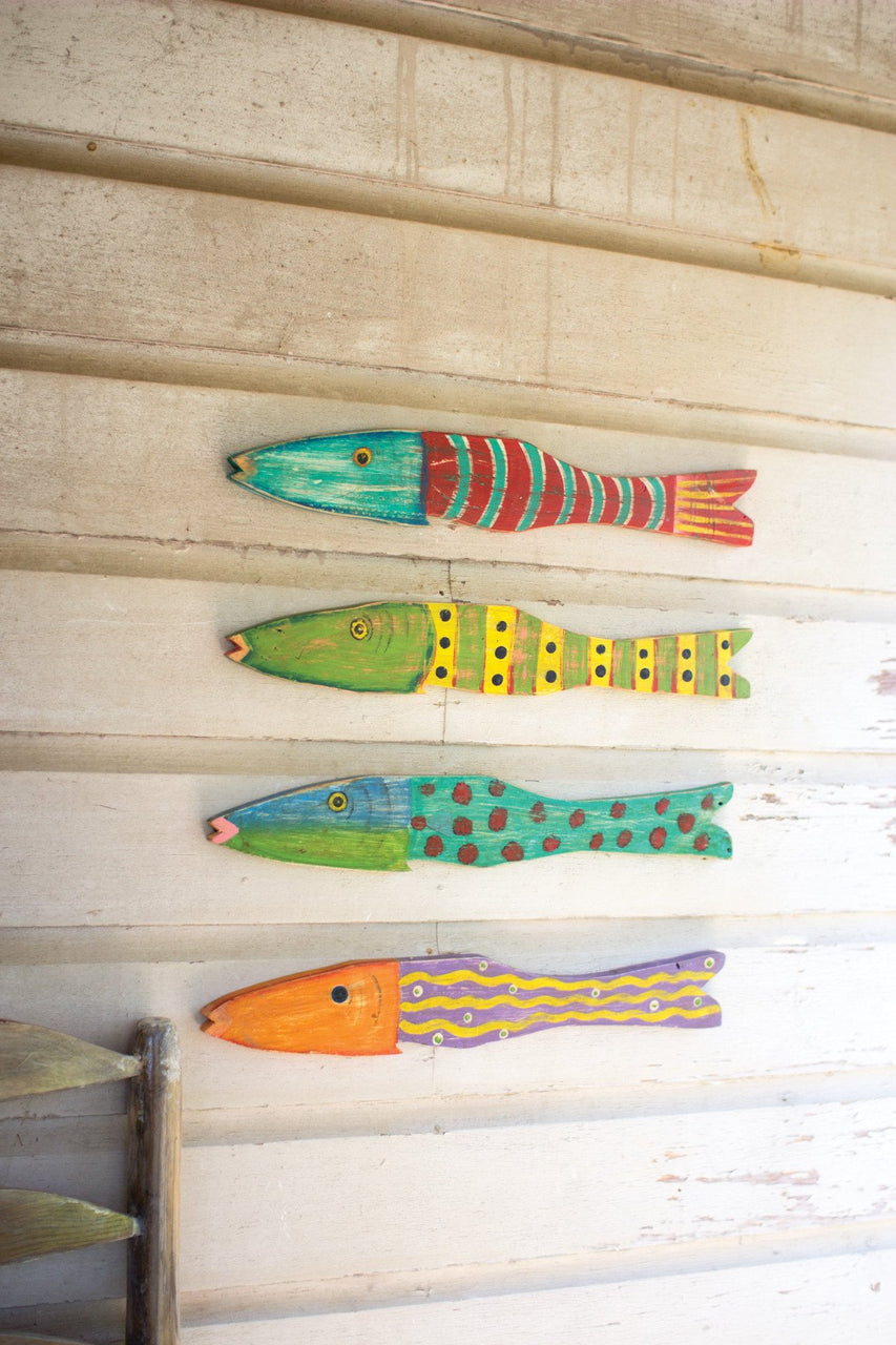 Set of 4 Recycled Wood Antique Fish - Hearts Attic
