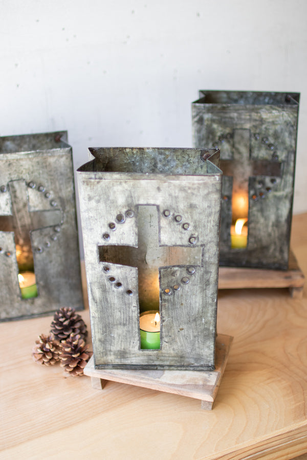 Recycled Metal Cross Luminary - Set Of 6