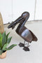 Rustic Recycled Metal Pelican With Fish