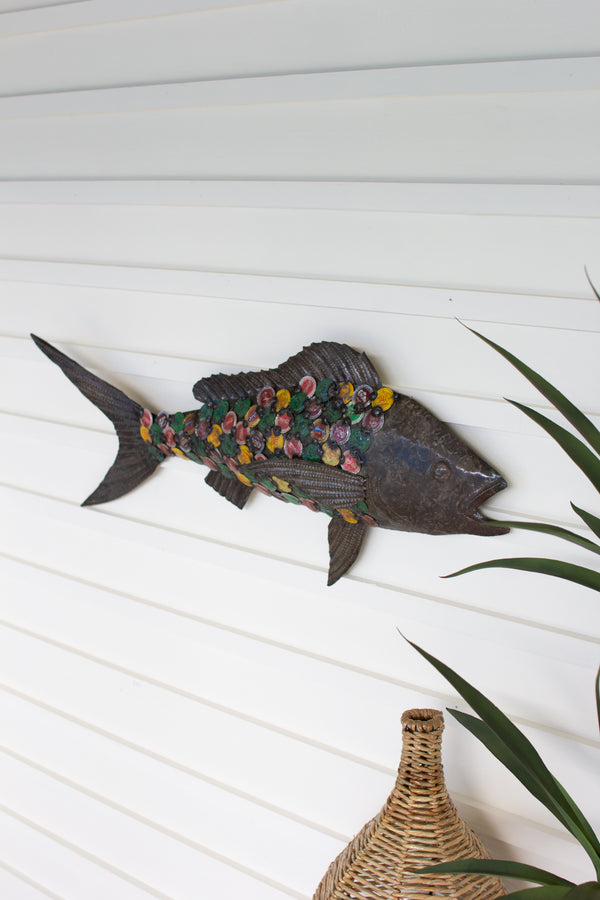 Recycled Metal Bottle Cap Fish Wall Hanging