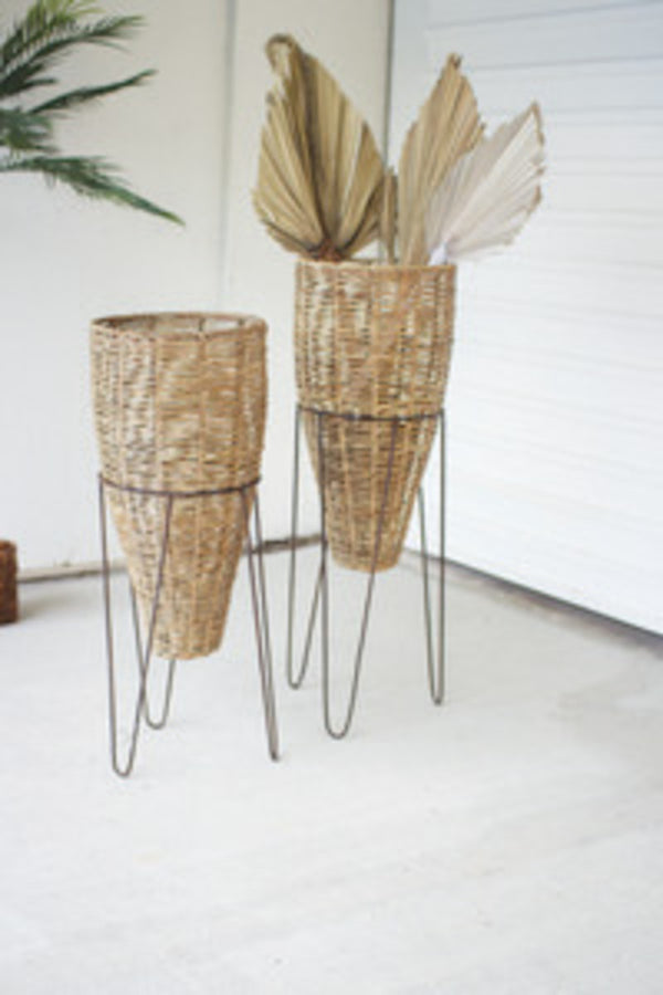 Set Of 2 Seagrass Cone Planters With Iron Stands