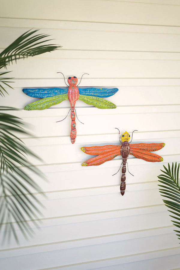 Set Of 2 Distressed Painted Metal Hanging Dragonflies